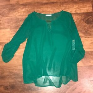 Kelley green sheer blouse